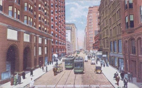 postcard-chicago-dearborn-n-from-van-buren-streetcars-wagons-pedestrians-tinted-1916