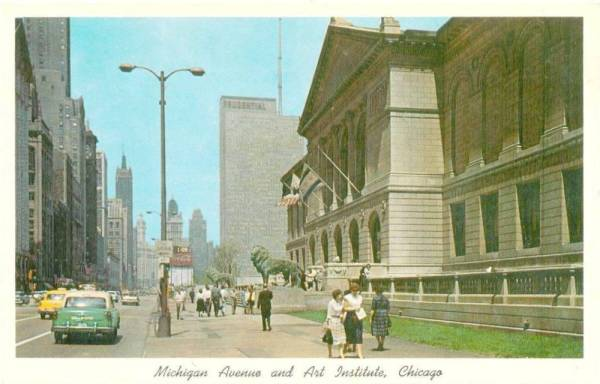 postcard-chicago-michigan-ave-and-art-institute-looking-n-group-of-women-walking-cabs-c1960