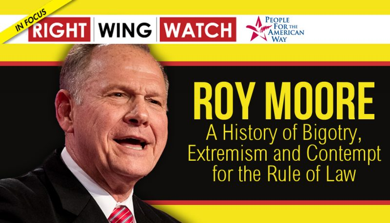 Dumb Fundie Crackacide!!! Religious Right Extremists Head To Alabama To Defend Roy Moore Against 'Homosexualist Gay Terrorism'!!! Dim Bakker:'They Outlawed Merry Christmas A Few Years Ago'!!! Rep. Gouie Lohmert: Roy Moore Allegations Were Designed To Destroy Steve Bannon!!! Sandy Rios Begs Listeners To Ignore 'Ick Factor' And Vote For Roy Moore!!! Roy Moore: A History of Bigotry, Extremism and Contempt for the Rule of Law!!!